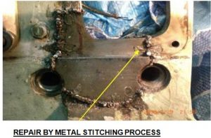 Metal Stitching Done in Broken Area of Generator