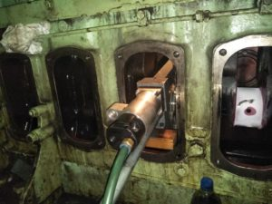 Inspection and Grinding of Crankpin of Wartsila Engine is in Process